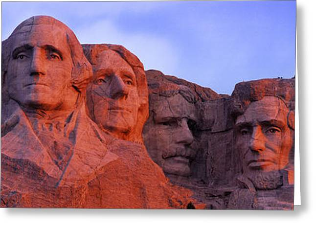 Mount Rushmore Greeting Cards - Low Angle View Of A Monument, Mt Greeting Card by Panoramic Images