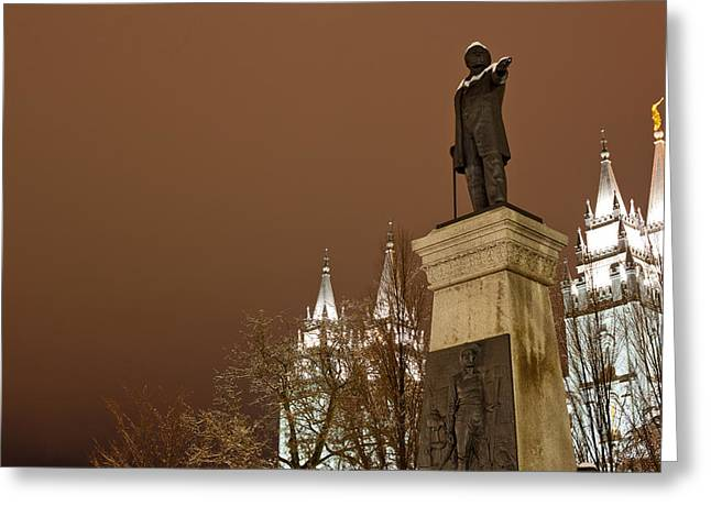 Salt Lake City Temple Photography Greeting Cards - Low Angle View Of A Statue In Front Greeting Card by Panoramic Images