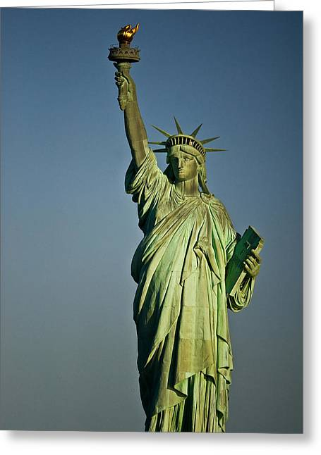 Liberty Island Greeting Cards - Low Angle View Of A Statue, Statue Of Greeting Card by Panoramic Images
