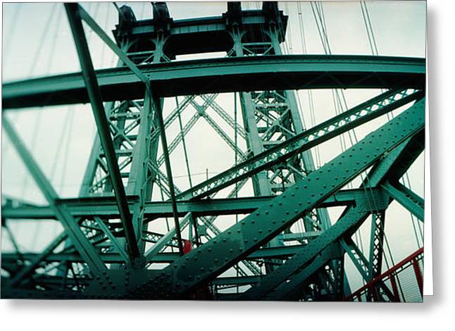 Williamsburg Greeting Cards - Low Angle View Of A Suspension Bridge Greeting Card by Panoramic Images