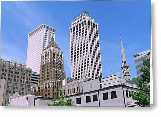 Tulsa Greeting Cards - Low Angle View Of Downtown Buildings Greeting Card by Panoramic Images