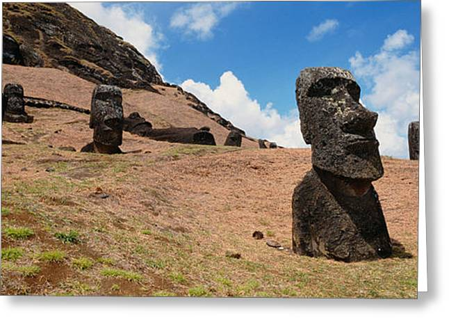 Low Angle View Of Moai Statues, Tahai Greeting Card by Panoramic Images