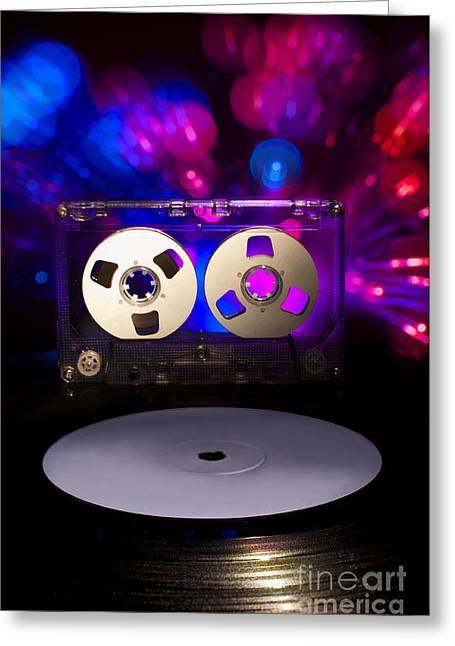 Casette Greeting Cards - LP vinyl record cassette tape and disco lights Greeting Card by Deyan Georgiev