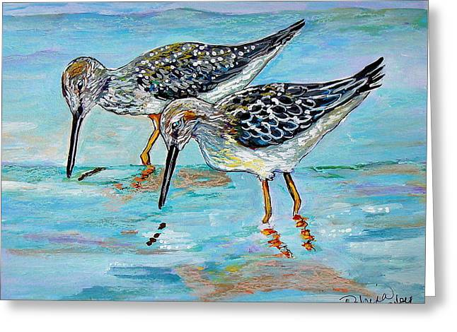 Seabirds Mixed Media Greeting Cards - Lunch for Two Greeting Card by Robina Anstey