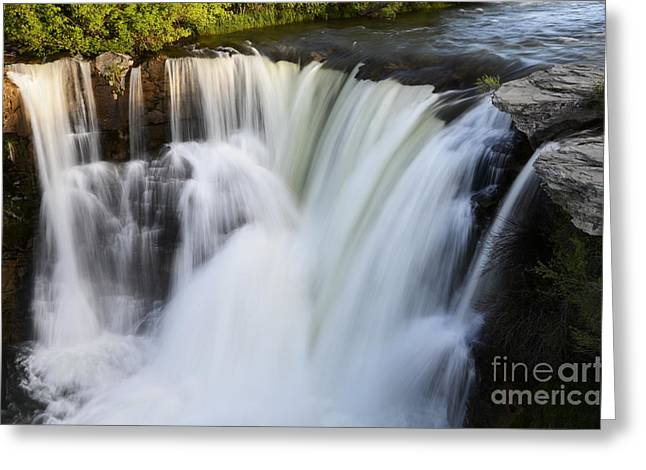 Moving Earth Greeting Cards - Lundbreck Falls Evening Light Greeting Card by Bob Christopher