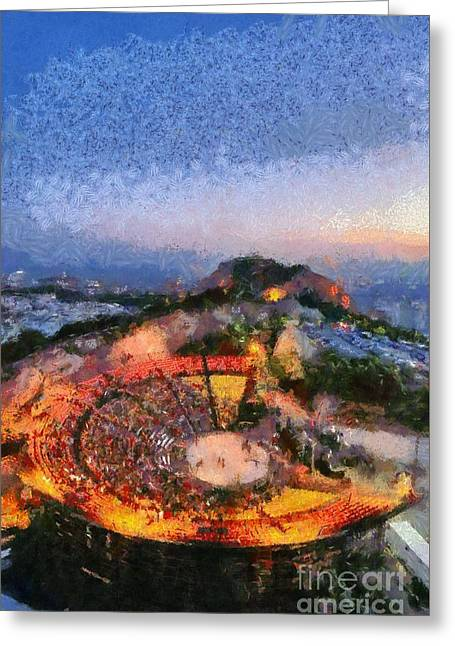 Journey Greeting Cards - Theater on Lycabettus hill Greeting Card by George Atsametakis