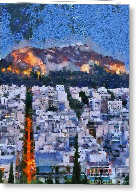 Greece Greeting Cards - Lycabettus hill during dusk time Greeting Card by George Atsametakis