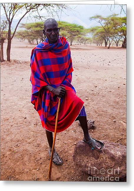 Maasai Man Portrait In Tanzania Greeting Card by Michal Bednarek