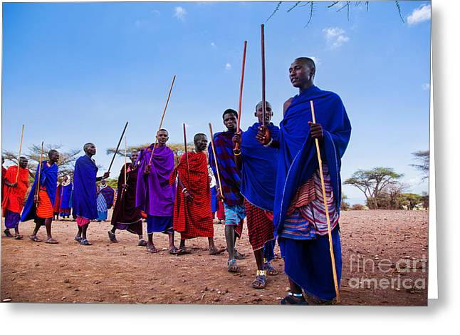 Apparel Greeting Cards - Maasai men in their ritual dance in their village in Tanzania Greeting Card by Michal Bednarek