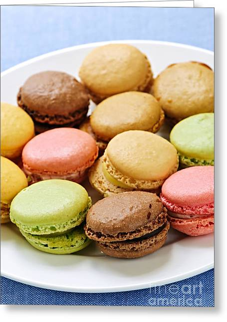Macaroon Cookies Greeting Card by Elena Elisseeva