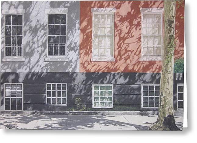 New York Pastels Greeting Cards - MacDougal Street Greeting Card by Harvey Rogosin