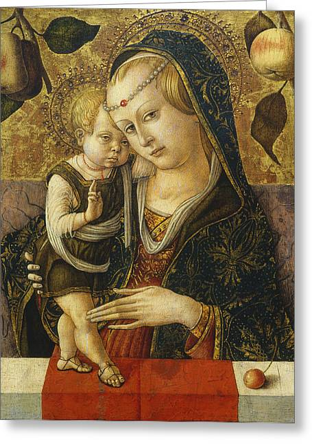 Christ Child Greeting Cards - Madonna and Child Greeting Card by Carlo Crivelli