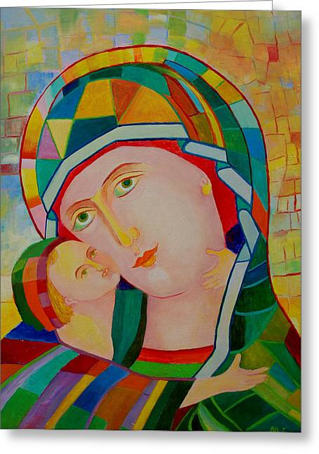 Icon Byzantine Mixed Media Greeting Cards - Madonna and Child colorful icon Greeting Card by Magdalena Walulik
