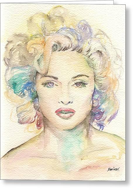 Nude Monroe Greeting Cards - Madonna Greeting Card by Marina Sotiriou