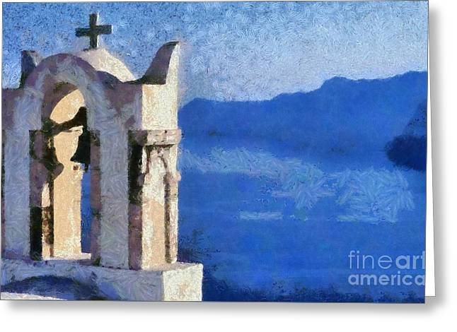 Santorini Greeting Cards - Magnificent view Greeting Card by George Atsametakis