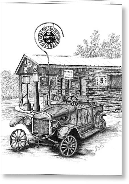 Pen And Ink Framed Prints Greeting Cards - Magnolia Gas Greeting Card by Linda Pfeifer