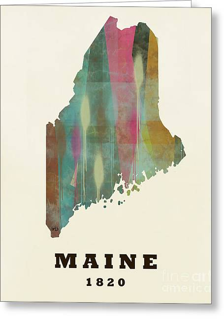 World Map Print Paintings Greeting Cards - Maine state map modern Greeting Card by Bri Buckley