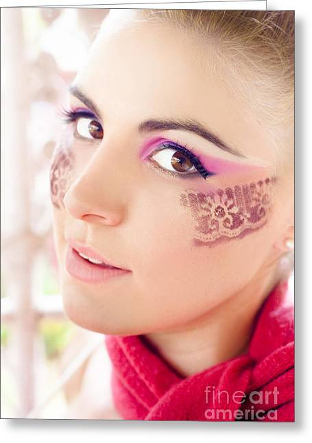 High Cheekbones Greeting Cards - Makeup Greeting Card by Ryan Jorgensen