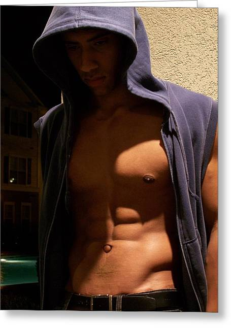 Pecs Digital Greeting Cards - Male Model Greeting Card by Jake Hartz
