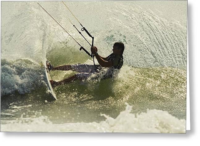 Kite Surfing Greeting Cards - Man Kitesurfing Greeting Card by Ben Welsh