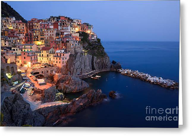 North Italian Town Greeting Cards - Manarola at night in the Cinque Terre Italy Greeting Card by Matteo Colombo