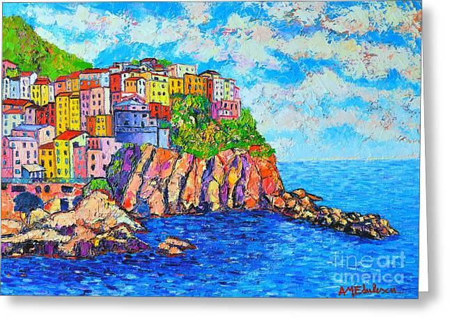 Blue And Purple Sea Greeting Cards - Manarola Cinque Terre Italy  Greeting Card by Ana Maria Edulescu