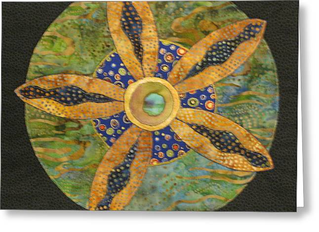 Wheels Tapestries - Textiles Greeting Cards - Mandala No 6 Wheel of Fortune Greeting Card by Lynda K Boardman
