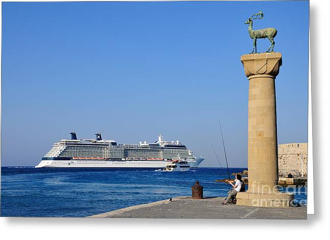 Mandraki port Greeting Card by George Atsametakis