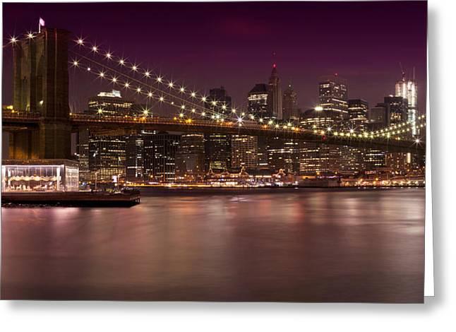 Sightseeing Photographs Greeting Cards - Manhattan by Night Greeting Card by Melanie Viola