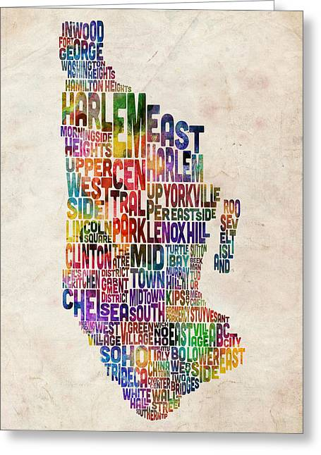 Cities Art Greeting Cards - Manhattan New York Typographic Map Greeting Card by Michael Tompsett