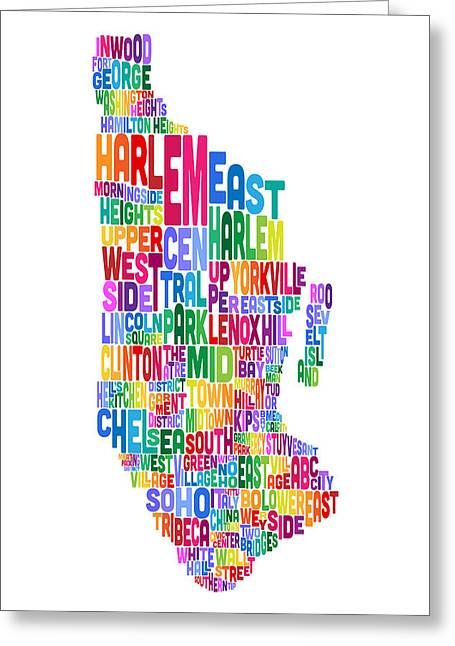 Word Map Greeting Cards - Manhattan New York Typography Text Map Greeting Card by Michael Tompsett