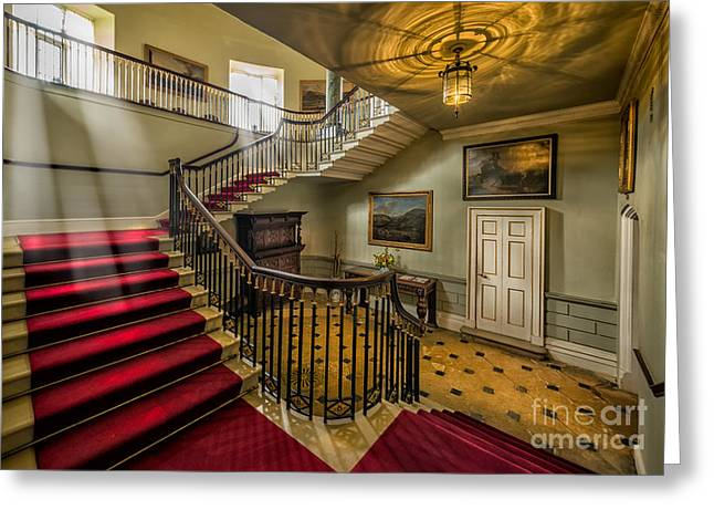 Oil Lamp Greeting Cards - Mansion Stairway Greeting Card by Adrian Evans