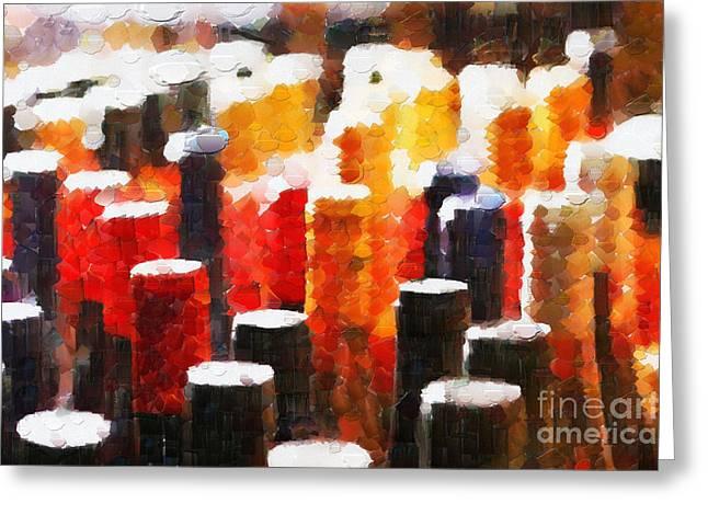 Many wine bottles painting Greeting Card by Magomed Magomedagaev