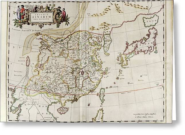 Map Of China Greeting Card by Library Of Congress, Geography And Map Division