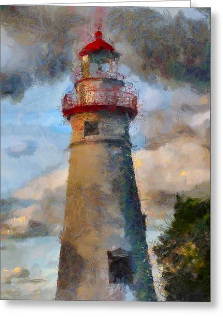 Shades Of Red Greeting Cards - Marblehead Lighthouse Greeting Card by Dan Sproul