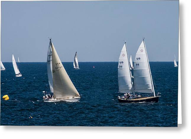 Sailing Ship Greeting Cards - Marblehead to Halifax Ocean Race Greeting Card by Jeff Folger