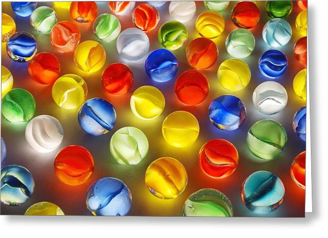Win Photographs Greeting Cards - Marbles Greeting Card by Jim Hughes