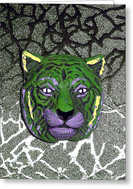 Puma Pictures Greeting Cards - Mardi Gras Wildcat  Greeting Card by Joseph Baril