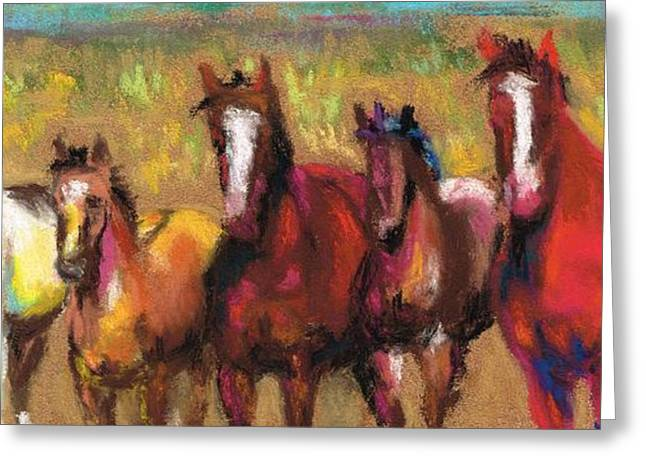 Horse Herd Greeting Cards - Mares and Foals Greeting Card by Frances Marino