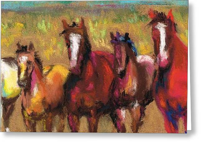 Mares And Foals Greeting Card by Frances Marino