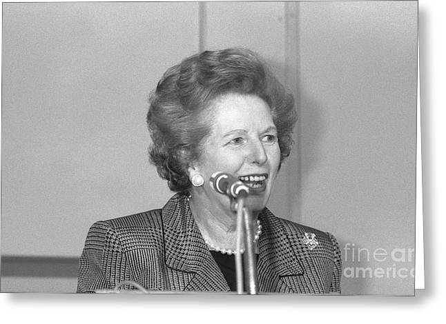 Conservative Greeting Cards - Margaret Thatcher Greeting Card by David Fowler
