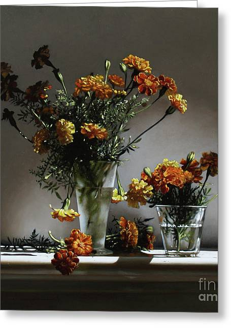 Marigold Greeting Cards - Marigolds  Greeting Card by Larry Preston