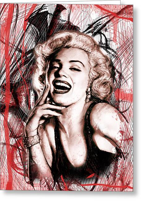 Guitar Pictures Greeting Cards - Marilyn Monroe art long drawing sketch poster Greeting Card by Kim Wang
