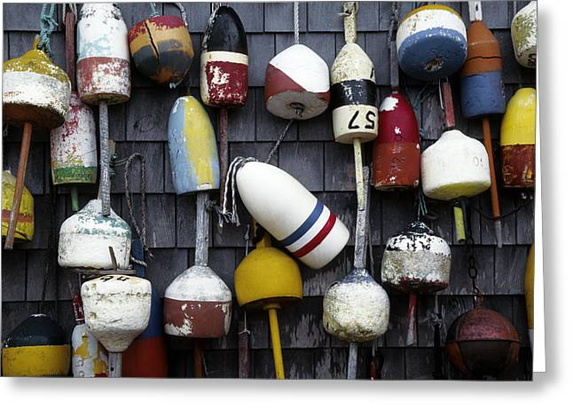 Maine Icons Greeting Cards - Marker lobster buoys Greeting Card by Jim  Wallace