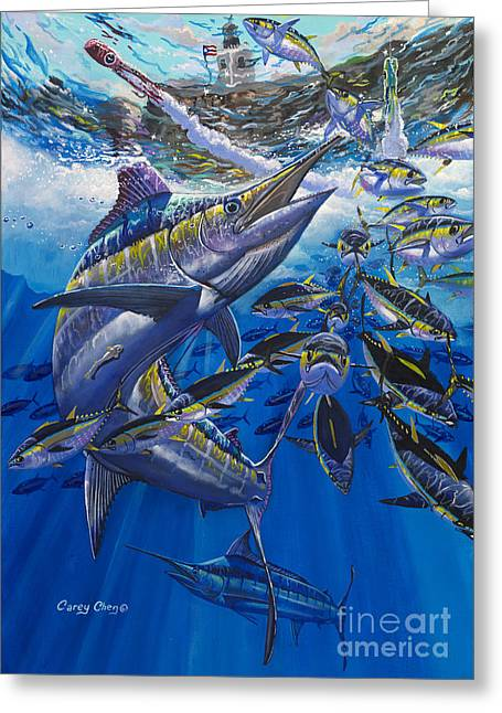 Puerto Rico Paintings Greeting Cards - Marlin El Morro Greeting Card by Carey Chen