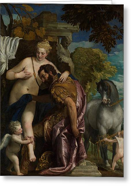 Romance Renaissance Greeting Cards - Mars and Venus United by Love Greeting Card by Paolo Veronese