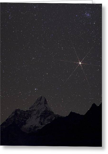 Snowy Night Night Greeting Cards - Mars rising over the Himalayas Greeting Card by Science Photo Library