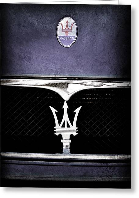 Maserati Greeting Cards - Maserati Hood - Grille Emblems Greeting Card by Jill Reger