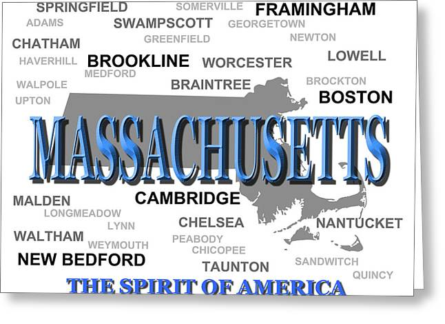 Chelsea Digital Art Greeting Cards - Massachusetts State Pride Map Silhouette  Greeting Card by Keith Webber Jr