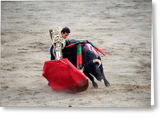 Caucasian Appearance Greeting Cards - Matador And A Bull In A Bullring, Lima Greeting Card by Panoramic Images